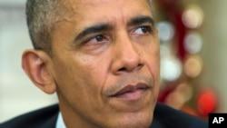 Presiden Barack Obama menyampaikan belasungkawa kepada anggota keluarga korban penembakan di San Bernardino, California dalam pernyataan di Gedung Putih, Kamis (3/12).