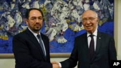 صلاح الدین ربانی وزیر خارجۀ افغانستان در دیدار اخیرش با سرتاج عزیز مشاور امنیت ملی پاکستان