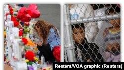 Para pengunjung mengenang korban penembakan massal menunggu di perbatasan AS-Meksiko.