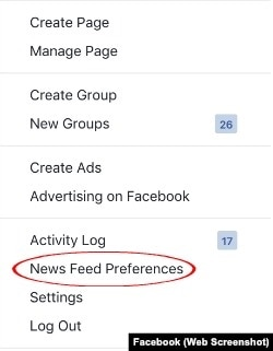 Facebook News Feed Settings Menu