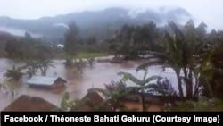 Inondation et glissement de terre à Mahanga, dans le Masisi, Nord-Kivu, le 29 avril 2019. (Facebook/Théoneste Bahati Gakuru)