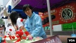 香港支聯會常委劉家儀表示,中國計劃生育政策下,很多孕婦被強制流產,剝奪嬰兒生存權利 (美國之音湯惠芸)