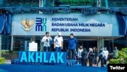 Peluncuran logo baru Kementerian BUMN di Kantor Kementerian BUMN, Jakarta, 1 Juli 2020. (Foto: Twitter@KemenBUMN)
