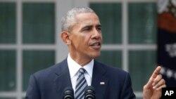 Presiden Barack Obama berbicara tentang Pilpres AS, Rabu (9/11). Rose Garden, Gedung Putih, Washington, D.C. (foto: AP Photo/Pablo Martinez Monsivais)