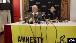 国际人权组织国际特赦在香港发表人权报告( 美国之音 谭嘉琪拍摄)