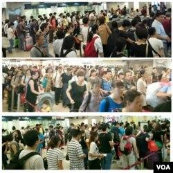 北區水貨客關注組網上圖片,5月2日中國五一黃金周假期期間,上水火車站大堂擠滿旅客及水貨客。(美國之音湯惠芸)