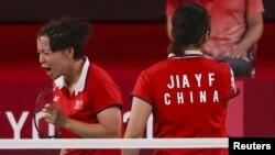 中国羽毛球运动员陈清晨在东京奥运会比赛场上爆粗口。(2021年8月2日)