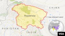 Peta daerah yang masih disengketakan antara China, India dan Pakistan.