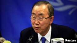 FILE - U.N. Secretary-General Ban Ki-moon speaks during a news conference at the UNMISS base in Juba, May 6, 2014.