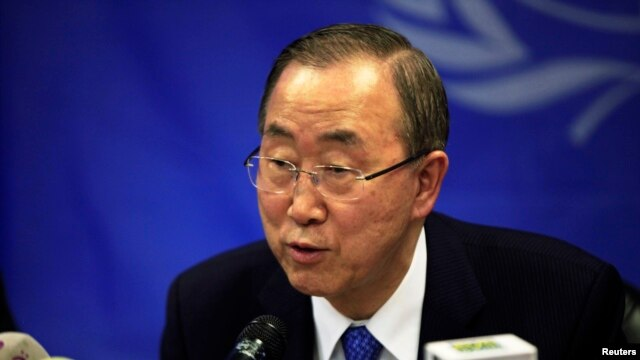 U.N. Secretary-General Ban Ki-moon speaks during a news conference at the UNMISS base in Juba, May 6, 2014.