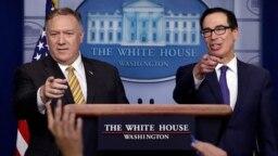 استیون منوشن، وزیر خزانهداری، و مایک پمپئو، وزیر خارجه، در کنفرانس خبری مشترک روز سهشنبه در کاخ سفید