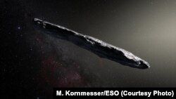 An artist's illustration of the asteroid 'Oumuamua, the first interstellar object ever known to visit our solar system.