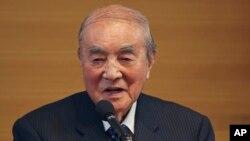 2015年5月1日,日本前首相中曾根康弘在東京的日本憲法修改年度會議上發表演講。