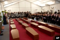 A view of the tent where a funeral service for 24 migrants drowned while trying to reach the Southern coasts of Italy took place, in Msida, in the outskirts of Valletta, Malta, April 23, 2015.