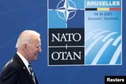 美國總統拜登在布魯塞爾出席北約峰會。 (2021年6月14日)