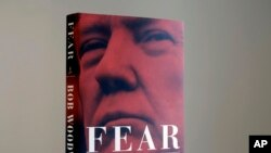 "A copy of Bob Woodward's ""Fear"" is photographed Wednesday, Sept. 5, 2018, in New York. It's not clear whether President Donald Trump has much to fear from ""Fear"" itself."