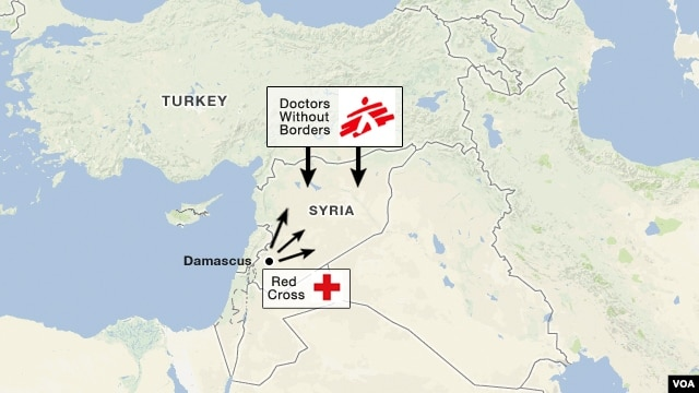 Aid agency routes for delivering aid to Syria.