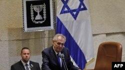 Czech President Milos Zeman speaks during a session of the Israeli parliament, in Jerusalem, Nov. 26, 2018.