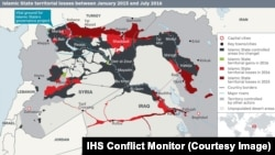 Islamic State territorial losses between January 2015 and July 2016 (IHS Conflict Monitor)