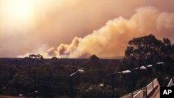 Foto yang dirilis oleh Dinas Pemadam Kebakaran New South Wales ini menampilkan asap kebakaran hutan yang mengepul dari wilayah Springwood, sebalah Barat kota Sydney (17/10).