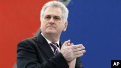 Serbia's Progressive Party leader Tomislav Nikolic attends protest rally in Belgrade, Serbia, April 2011 (file photo).