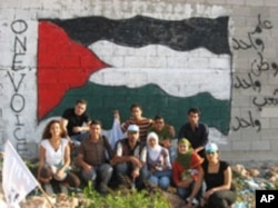Some of the youth leadership trainees affiliated with the OneVoice Movement in Israel and the occupied Palestinian territories