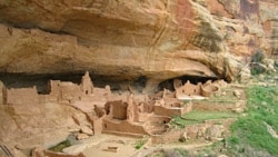 A view of cliff dwellings at Mesa Verde
