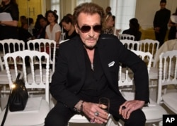 FILE - French rock singer Johnny Hallyday, July 4, 2016 photo.