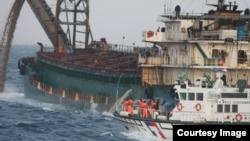 2019年6月4日台灣海巡署於台灣灘取締中國抽砂船勤務(台灣海巡署提供)