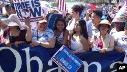 支持美國移民改革法案的民眾舉行集會(資料照片)