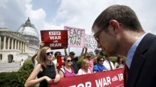Activists deliver more than 400,000 petition signatures to Capitol Hill in support of the Iran nuclear deal in Washington, July 29, 2015.