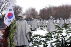 Korean War Memorial seen here in the winter of 2014