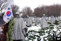 Korean War Memorial seen here in the winter of 2014