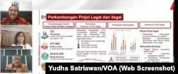 Data perkembangan pinjaman online. (Foto: tangkapan layar/Yudha Satriawan/VOA)