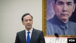 國民黨新任主席朱立倫發表就職演說。 (美國之音記者方正拍攝)