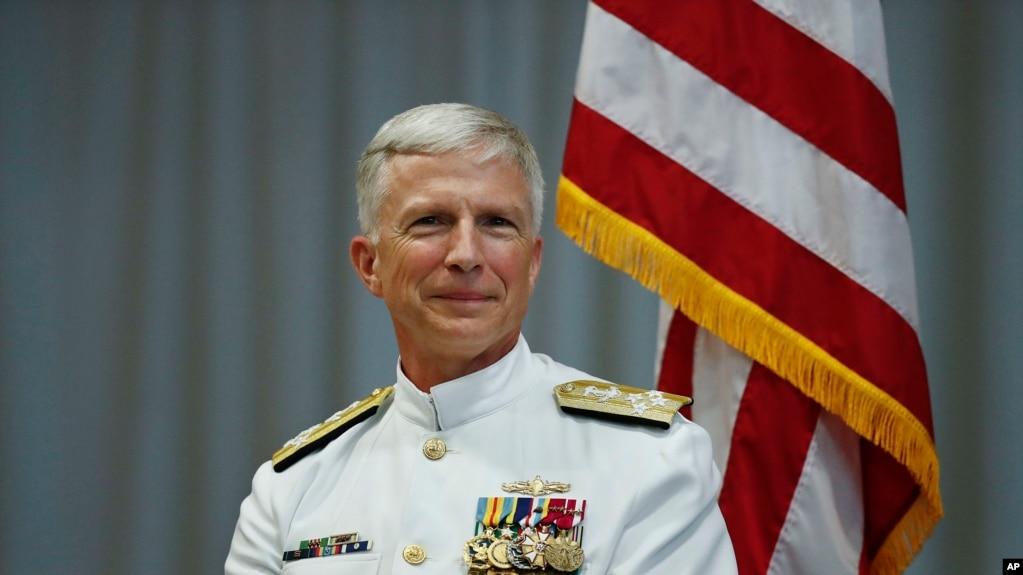 美国南方司令部司令,海军上将克雷格·法勒在交接仪式上(2018年11月26日)