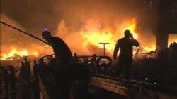 صحنه ای از محل سقوط هواپیمای روسی در کراچی