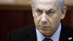 سهرۆک وهزیری ئیسرائیل بنیامین نهتهنیاهو له میانهی کۆبوونهوهی ههفتانهی له ئۆرشهلیم، یهکشهممه 13 ی یازدهی 2011