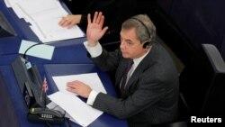 Nigel Farage, député européen et Pro-Brexit, au Parlement européen à Strasbourg, en France, le 16 janvier 2018.