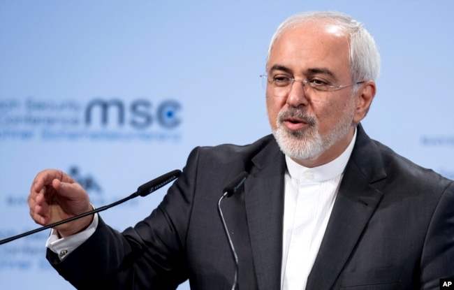 FILE - Iran's foreign minister, Mohammad Javad Zarif, speaks at the Security Conference in Munich, Feb. 18, 2018.