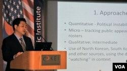 5일 워싱턴 한미연구소에서 열린 북한 관련 세미나에서 발표하는 린형구 박사.