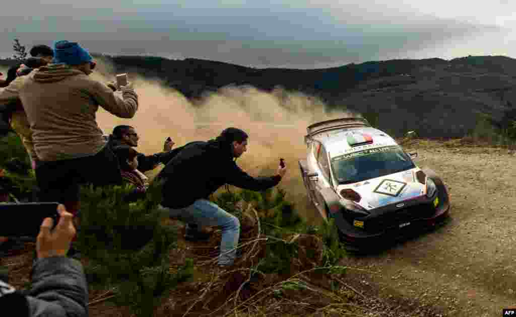 Italy's Lorenzo Bertelli steers his M-Sport Ford WRT with his compatriot co-driver Simone Scattolin during the SS12 of the WRC Chile 2019 near Pelun, Chile, May 11, 2019.