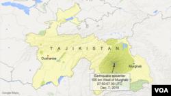 Earthquake epicenter near Murghab, Tajikistan