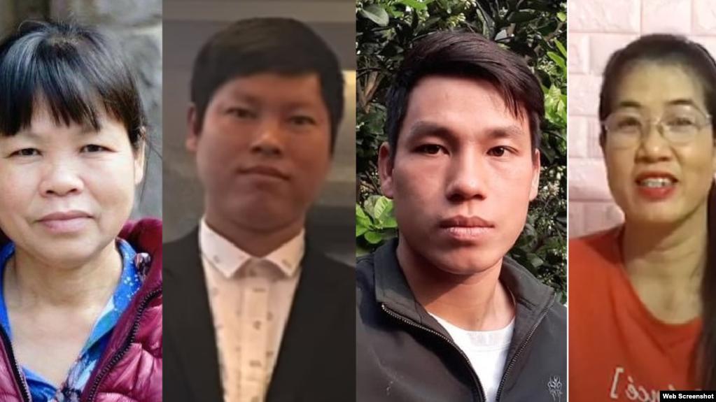 Từ trái sang, bà Cấn Thị Thêu, anh Trịnh Bá Phương, anh Trịnh Bá Tư, bà Nguyễn Thị Tâm, bị bắt ngày 24-06-2020. Photo Facebook và YouTube.