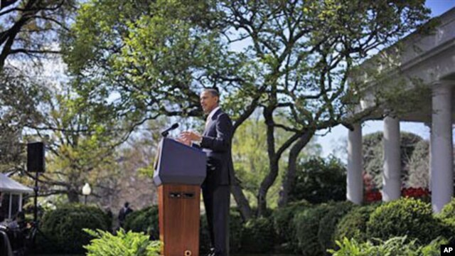 President Barack Obama urges Congress to eliminate tax breaks for oil and gas companies, in the Rose Garden of the White House in Washington, March 29, 2012.