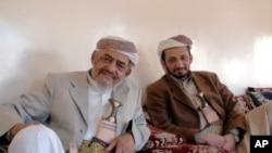 Tribal leader Sheikh Ghaleb al-Ashdaa of the Murad, and his son Khaled al-Ashdaa, in Sana'a. Both men favor government negotiations with Yemeni militants. January 10, 2010.