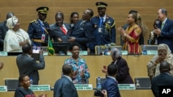 Members of the presidium of the African Union are seen at the group's summit in Ethiopia's capital Addis Ababa, Jan. 30, 2016.