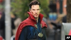 "Benedict Cumberbatch on the set of ""Doctor Strange"" in New York City."