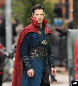 "Benedict Cumberbatch on the set of ""Doctor Strange"" in New York City."