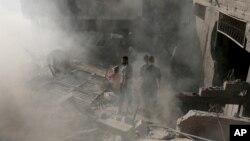 منزل مسکونی پس از حملۀ هوایی اسراییل در غزه